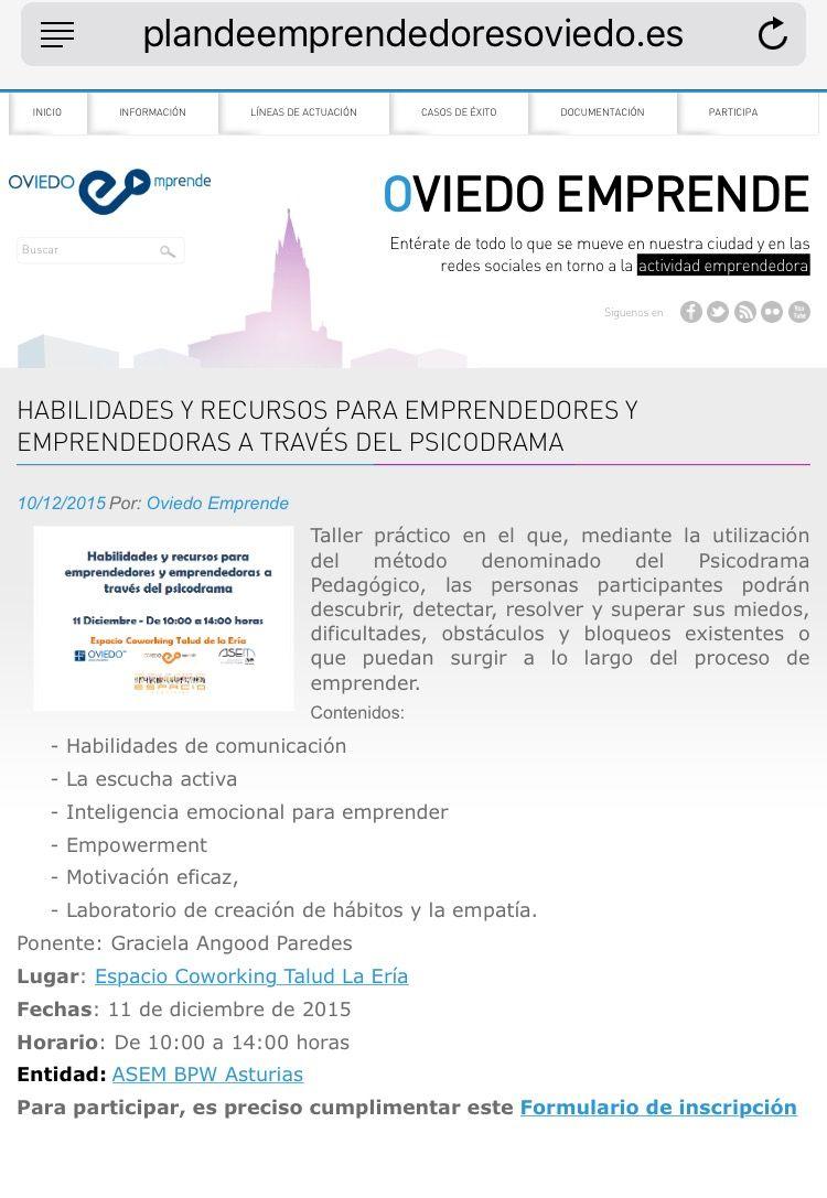 Taller en OviedoEmprende: Habilidades del Emprended@r con Psicodrama (GRATUITO)